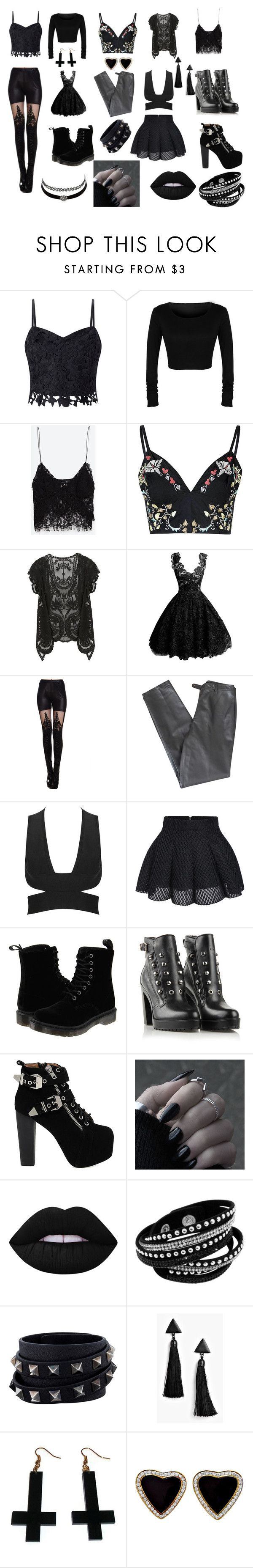 """готы"" by maltsewa-nastya on Polyvore featuring мода, Lipsy, Zara, Glamorous, Lafayette 148 New York, Dr. Martens, Diesel, Jeffrey Campbell, Lime Crime и Charlotte Russe"
