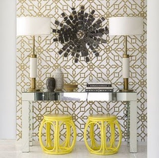 Love The Bright Yellow Faux Bamboo Asian Garden Stools And Hthe Gold  Metallic Wallpaper! Mirrored Console Table With Large Brass Lamps Flanking  A Black ...