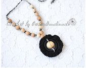 Teething necklace / Nursing necklace / Breastfeeding Necklace / Crochet Necklace for mom black