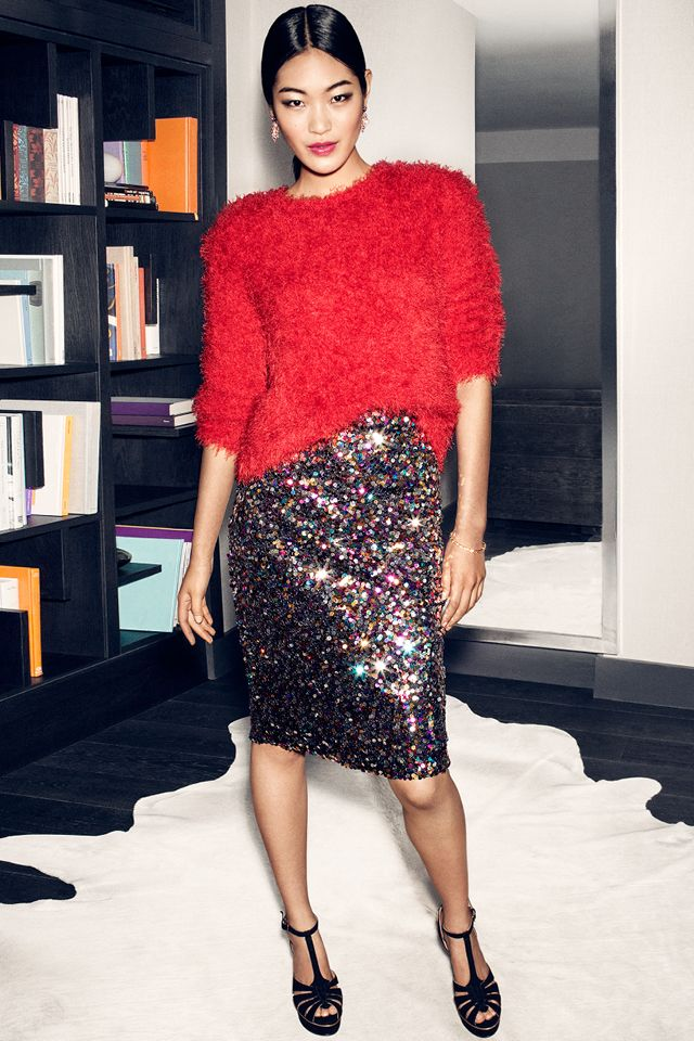 Go for confident color in this sequin skirt and fluffy red sweater ...