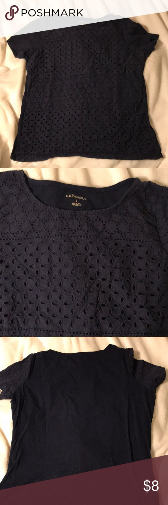 Navy Eyelet Tee GH Bass eyelet lace tee with cap sleeves. 100% cotton. Scoop neck. Lightly worn. Bass Tops