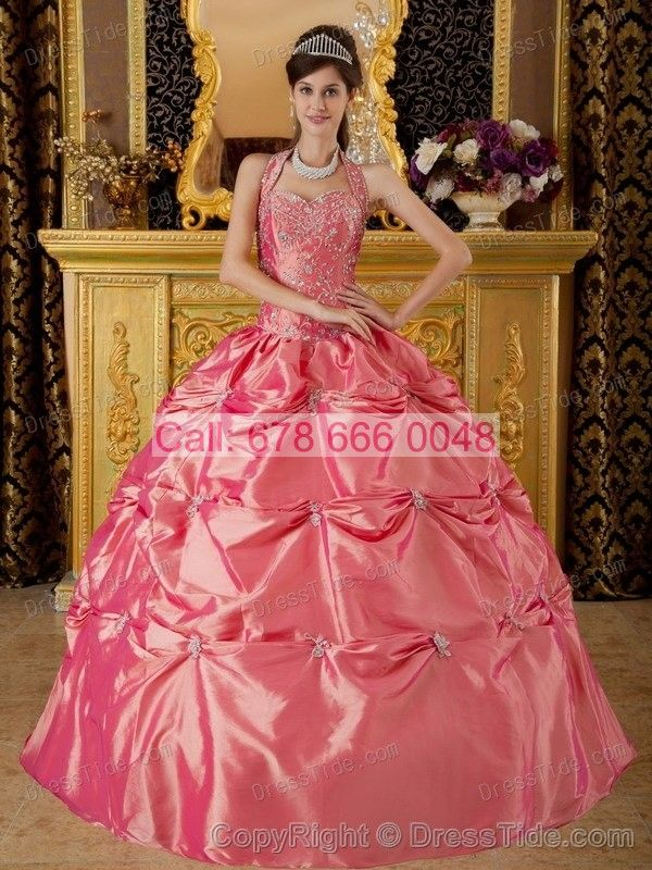 Halter Pick-up Dresses for Quinceaneras with Sparkling Appliques in Watermelon - Quinceanera Dresses 2015 - Quinceanera Dresses