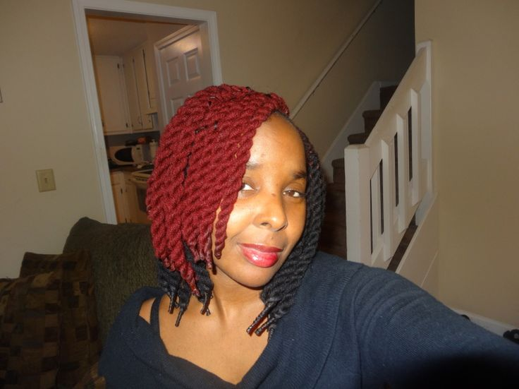 Yarn Braids Hairstyles: Jumbo Short Kinky Twist Protective Hairstyle