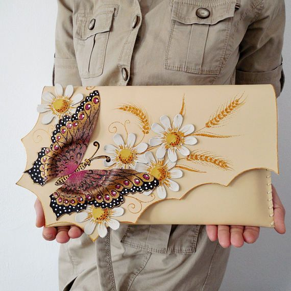 Colorful butterfly clutchFlowers leather purseUnique leather
