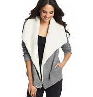 """Sherpa Collar Open Jacket - A scene-stealing (and ridiculously cozy) sherpa-inspired collar brings irresistible drama to this oh-so-soft terry style. Long sleeves. Open front. Welt pockets. 25"""" long."""