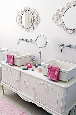 Dresser Sink, incredible mirrors and long faucets: Bathroom Design, Little Girls, Shabby Chic, Bathroom Vanities, White Bathroom, Bathroom Ideas, Vintage Furniture, Chic Bathroom, Girls Bathroom