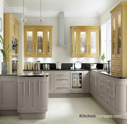 B q cooke lewis carisbrooke taupe framed our for Kitchens b q cooke and lewis