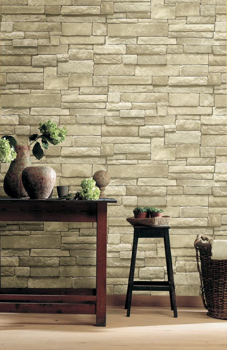 Wall reversal! This realistic ledge stone wallpaper can be used on your interior walls. Find more colors at http://on.fb.me/11aW00L
