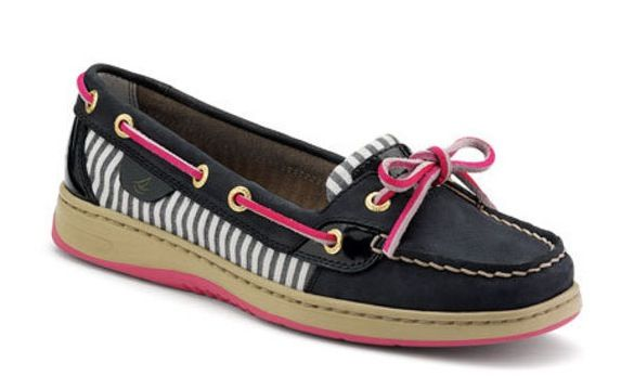 Sperrys!!!!! These would be cute with a pink dress the color pink of the shoes or a striped navy blue like the pattern on the side. Cuteness!
