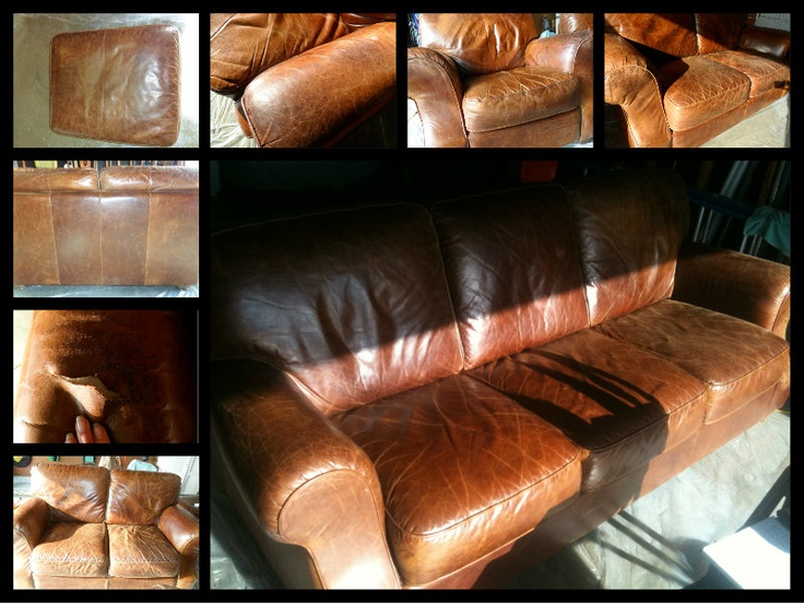 St Louis Leather Repair   Leather Furniture Set   Before
