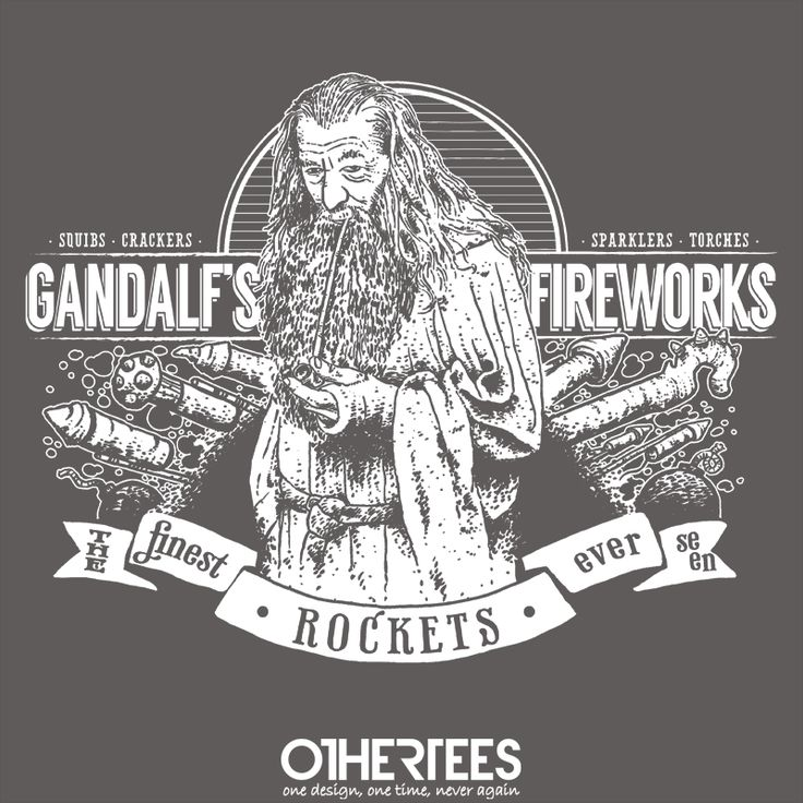"""""""Gandalf's Fireworks"""" by Azafran Shirt on sale until 27 June on othertees.com Pin it for a chance at a FREE TEE! #lotr #lordoftherings #gandalf #hobbit #tolkien"""