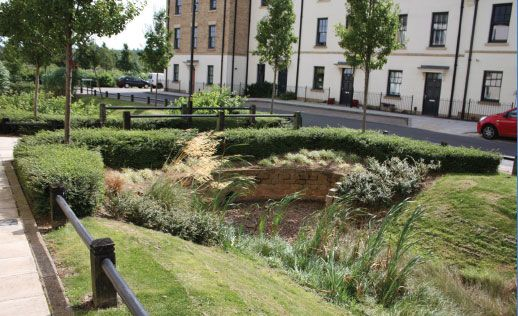 A swale designed to accommodate surplus surface water at for Surface design landscape