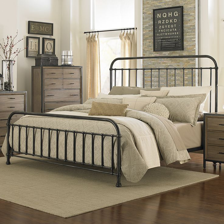 Shady Grove Iron Bed by Magnussen Home | Metal Iron Panel Headboard Footboard Complete Bed