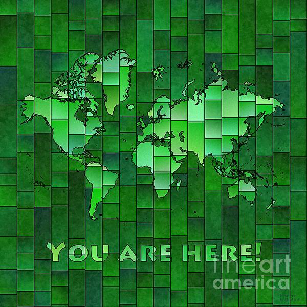 World Map Glasa You Are Here In Green by elevencorners. World map wall print decor. #elevencorners #mapglasa