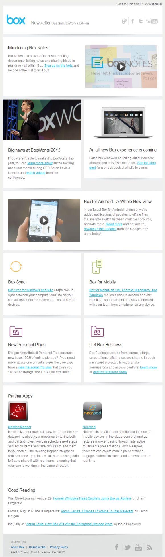 Box newsletter html email marketing design