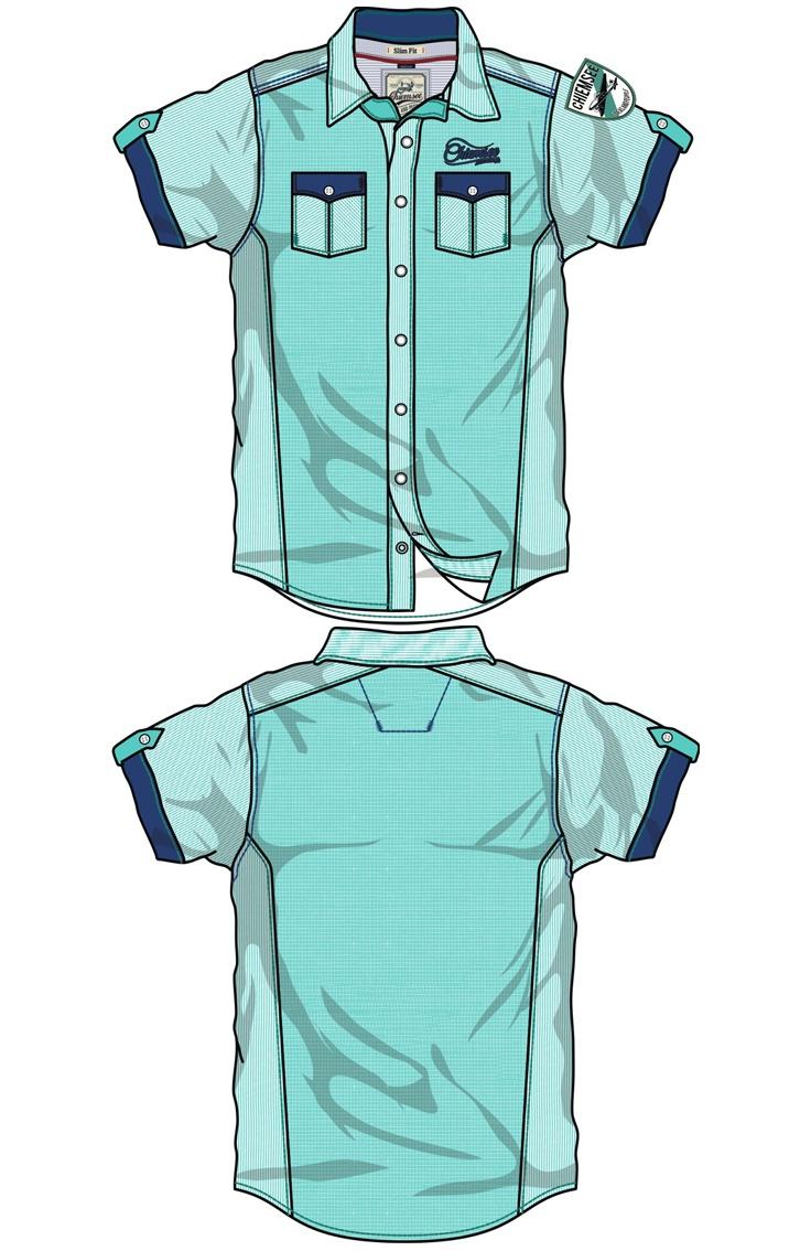 Desarrollo de producto para la marca CHIEMSEE: creación de camisa con diferentes diseños de tela pero del mismo color, con aplicaciones de bordados y detalles de costuras en algunos lugares para darle mas presencia a la prenda.