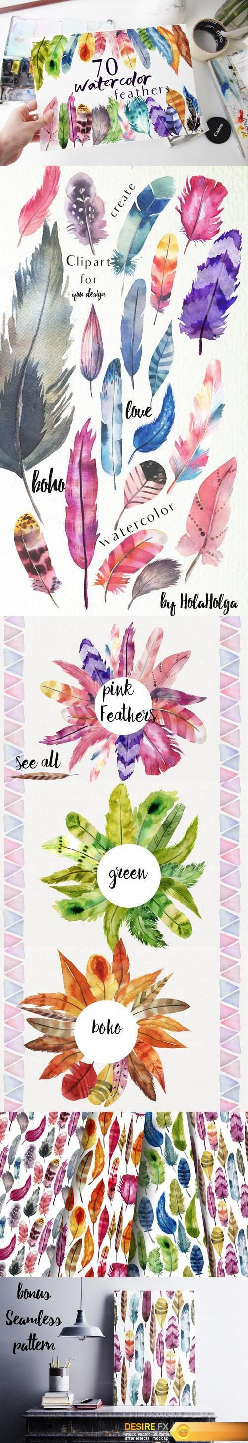 Find your Grapfix Desire With US http://www.desirefx.me/creativemarket-70-watercolor-feather-files-728540/