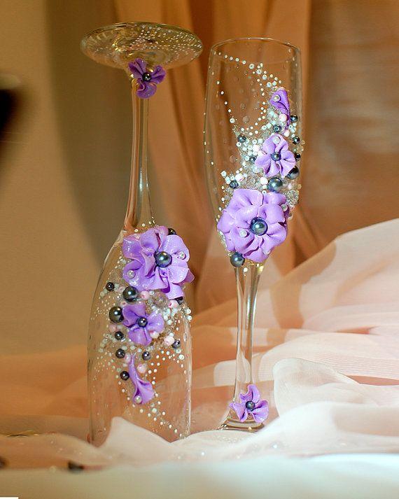 Wedding Toast Glasses Wedding Champagne Flutes by WeddingbyAnn, $28.00