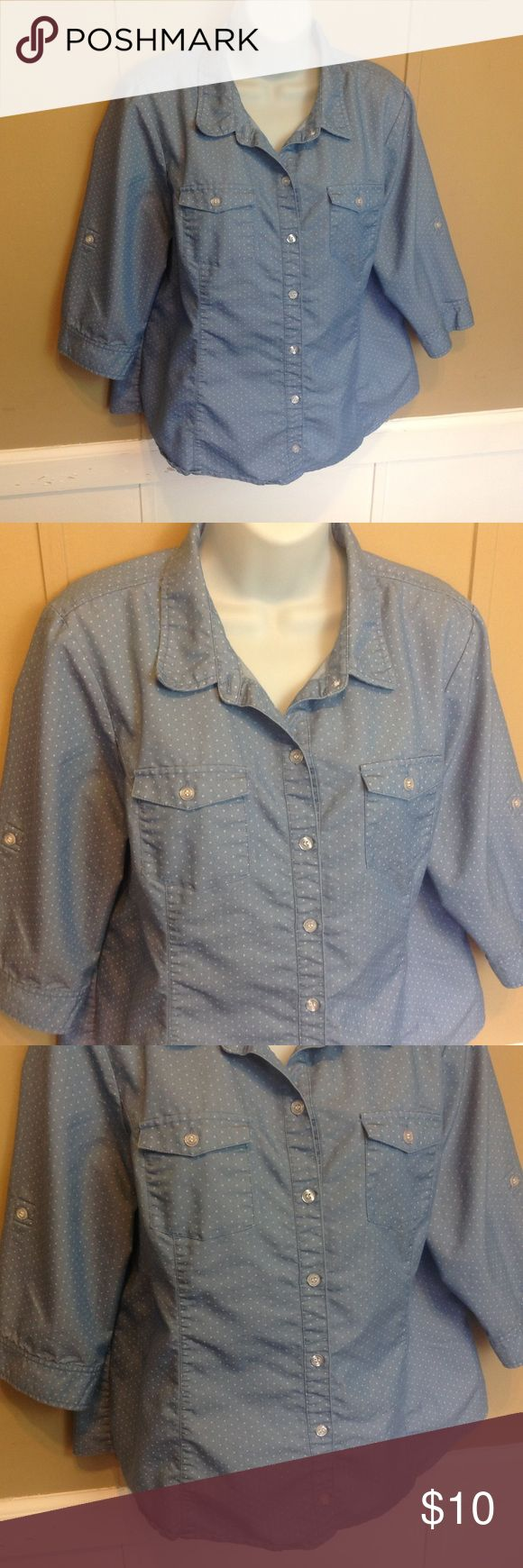 """Christopher and Banks Button Down Blouse Maker: Christopher and Banks ♥ Material: 65% Cotton 35% Polyester ♥ Color: Blue with White Polka Dots ♥ Measured Size: Pit to pit- 21"""" Pit to cuff- 10"""" Shoulder to waist- 22"""" ♥ Tag Size:  Petite Large ♥ Actual Size: Petite Large  ♥ Condition: Great  ♥ Item #: (office use only) C  Follow us on Instagram and facebook for coupon codes!  INSTAGRAM-thehausofvintage1984 Facebook- intergalactic haus of vintage 1984 or @hausofvintage1984 Christopher & Banks…"""