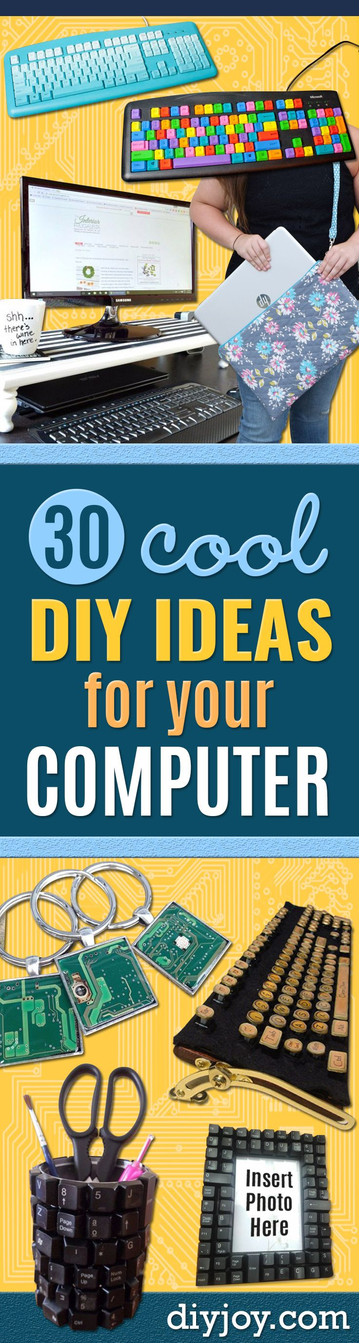 DIY Ideas for Your Computer - Cool Desk, Home Office, Bulletin Boards and Tech Projects for Kids, Awesome Tips and Tricks for Your Laptop and Desktop, Best Shortcuts and Neat Ways To Make Your Computer Even Better With Productivity Tips http://diyjoy.com/diy-ideas-computer