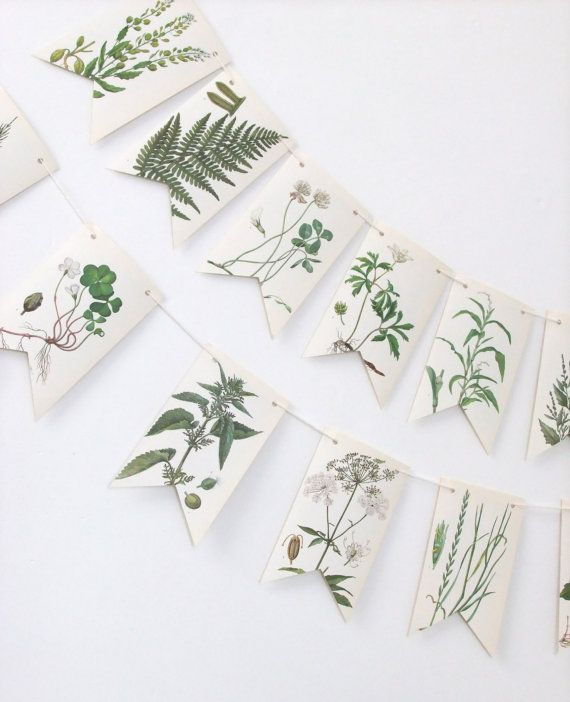 Botanical Bunting  Summer Decoration  Recycled by peonyandthistle, £10.00