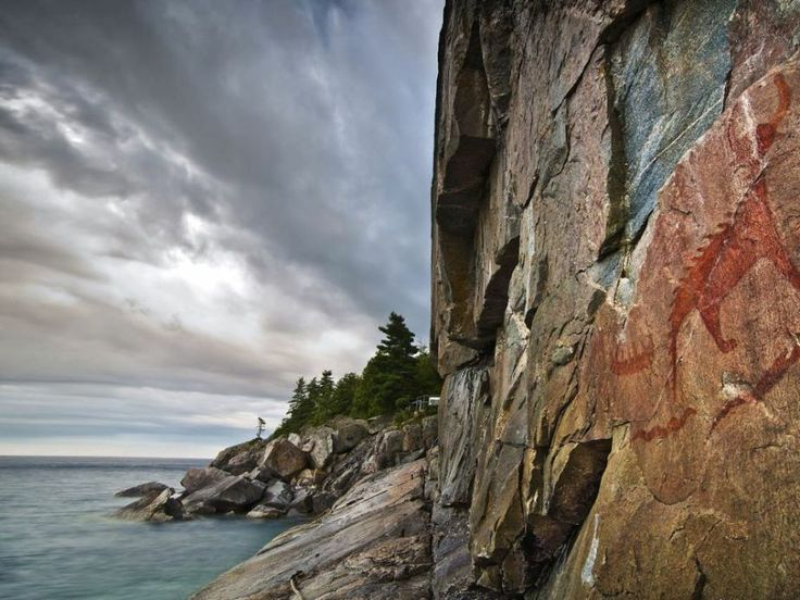 Between a Rock and a Hard Place - Geological formations and Ojibwa pictographs in Lake Superior Provincial Park near Wawa, Ontario ~ Photo by...Sarah Furchner©