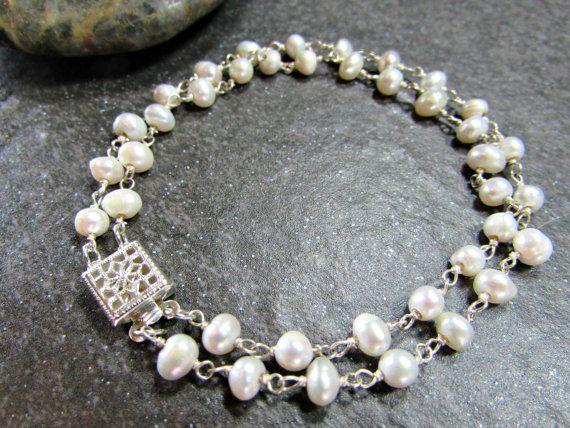 Double Strand Pearl Bracelet Sterling Silver by RedGarnetStudio