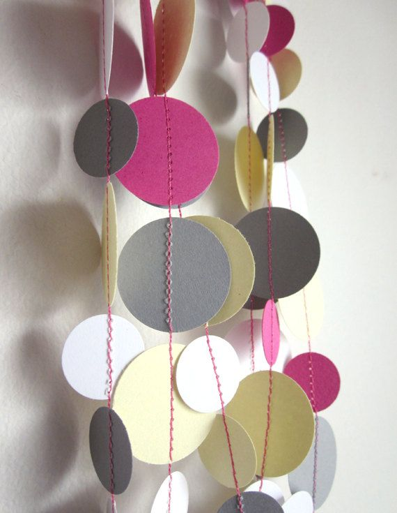Circle Garland - Gray, Yellow, and Pink Garland - Baby Room Decor - Shower Garland - Party Garland. $10.50, via Etsy.