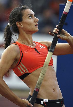 Yelena Isinbayeva. My ultimate idol! She is the Women's Pole Vault World champion. Holding a record of 19' feet even. 