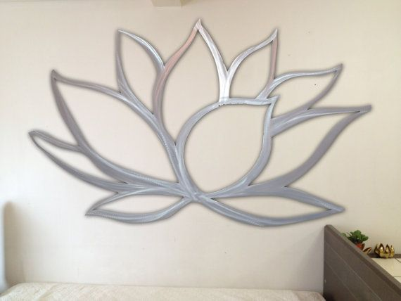 Lotus flower metal wall art lotus metal art home decor metal art wall art large metal wall art silver wall art metal wall decor