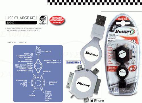 Καλώδιο USB φόρτισης smartphone 6 in 1 πτυσσόμενο  30242  Καλώδιο 76 εκ. με αυτόματη περιτύλιξη και  έξι αντάπτορες για όλα τα κινητά-smartphones -  tablet κλπ.   Περιέχει αντάπτορα :   1) Apple ( όλα τα μοντέλα )  2) Nokia  3) LG  4) Samsung  5) Sony  6) HTC  7) HUAWEI  8) Mini USB  9) Micro USB  10) Samsung Tablet