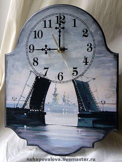"""Часы для дома ручной работы. Ярмарка Мастеров - ручная работа Часы """"Дворцовый мост"""". Handmade."""