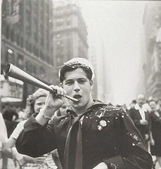 Handsome young sailor celebrating the end of the Second World War - New York, 1945 ~ WWII