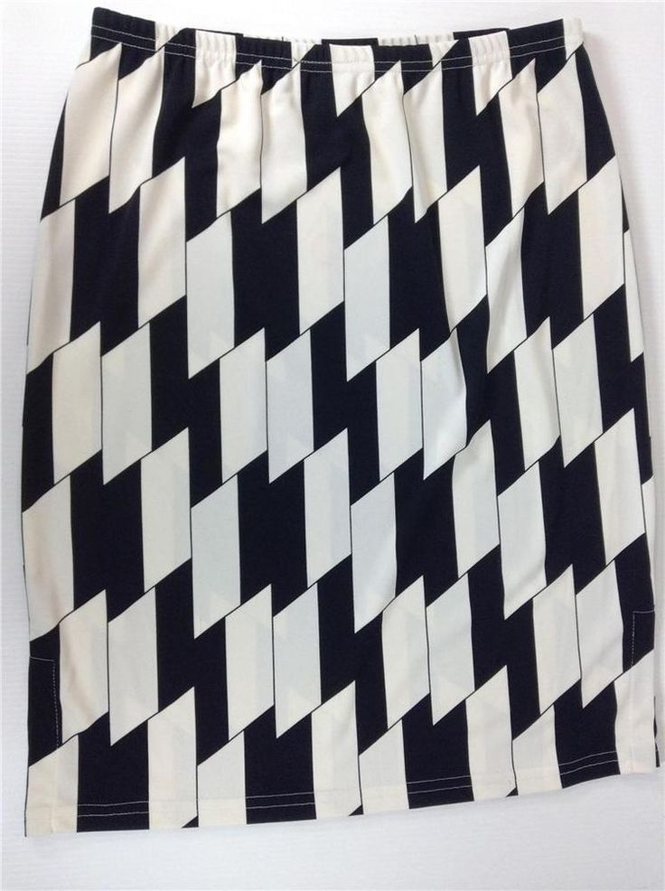 MIXIT Women's Skirt Black White Geometric Sports Size Medium Made in USA Costume #Mixit #StretchKnit