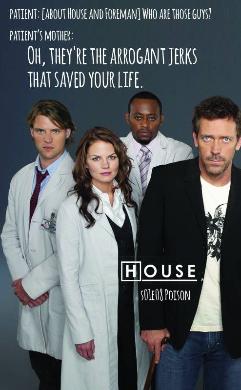 "House MD | Dr. House s01e08 Poison (2004) "" [last lines]  Matt Davis: [about House and Foreman] Who are those guys?  Margo Davis: Oh, they're the arrogant jerks that saved your life."""