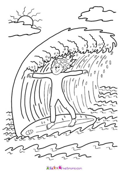 surfing coloring pages printable - photo#34