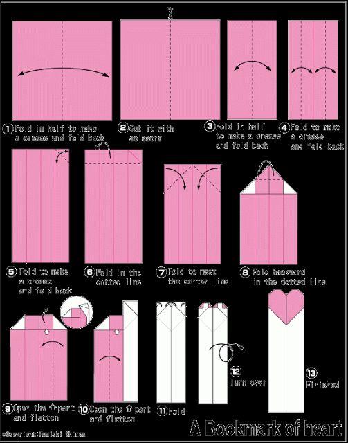 Além dos origamis: Marcador de página coração