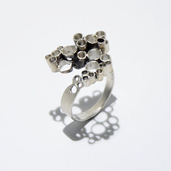 Modern circles sterling silver ring by JRajtar on Etsy