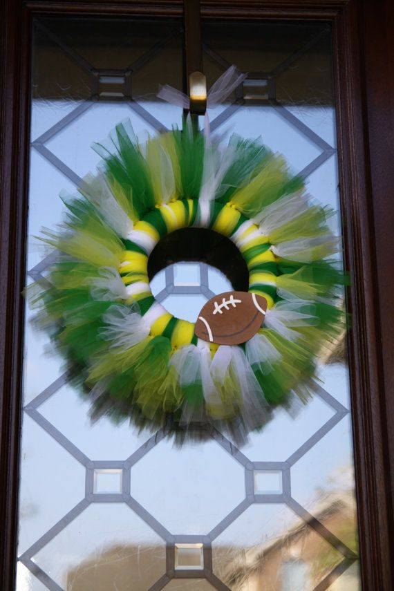Tulle wreath...I'm thinking blue and yellow with the jersey # on the football!