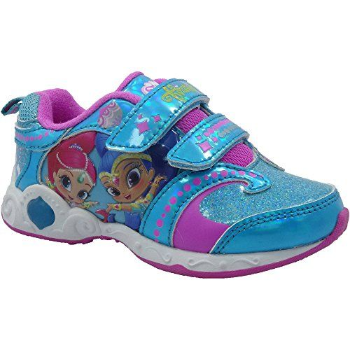 Nickelodeon Girls Shimmer & Shine Lighted Atheltic Shoes, Blue (11)  Girl's Shimmer & Shine Lighted Atheltic Shoes  Fun Light-Up Design  Strap Velcro Closure For Easy On/Off  Non-Marking Sole