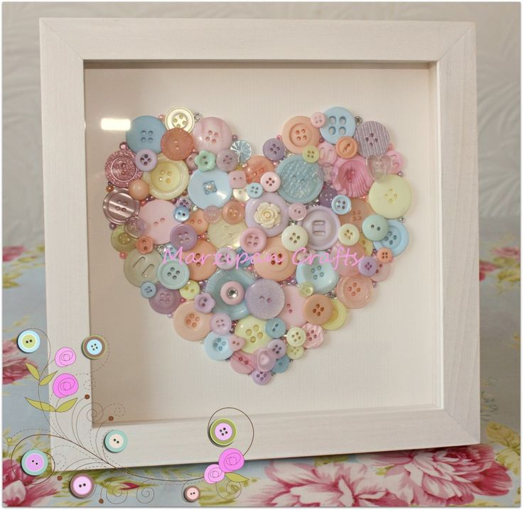 Pastel button heart in a professionally handmade