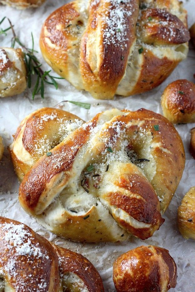 Baker By Nature | | Mozzarella Stuffed Rosemary and Parmesan Soft Pretzels