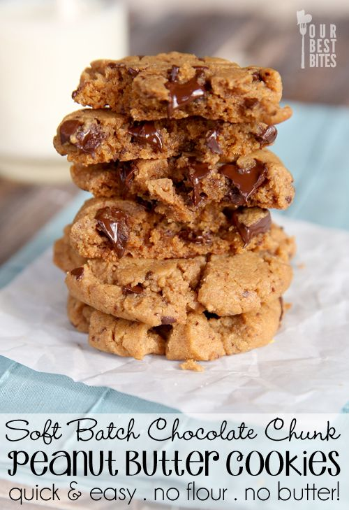 Our Best Bites Chocolate Chip Peanut Butter Cookies - #Flourless: Cookies Quick, Chocolate Chips, Chocolates Chips, Flourless Peanut, Peanut Butter Cookies, Bites Chocolates, Pb Cookies, Chips Peanut, Flourless Chocolates