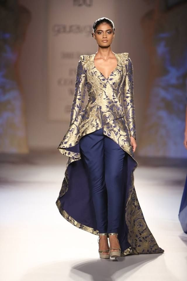 Gaurav Gupta at India Couture Week 2014 - blue fusion pants suit