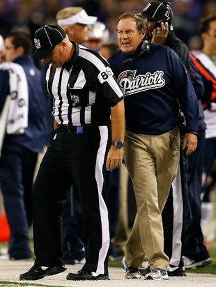 New England Patriots head coach Bill Belichick has been fined $50,000 for making contact with a game official following Sunday night's 31-30 loss to the Baltimore Ravens, Judy Battista of the New York Times reports.   http://sports.yahoo.com/blogs/nfl-shutdown-corner/bill-belichick-fined-50-000-making-contact-game-182843755--nfl.html
