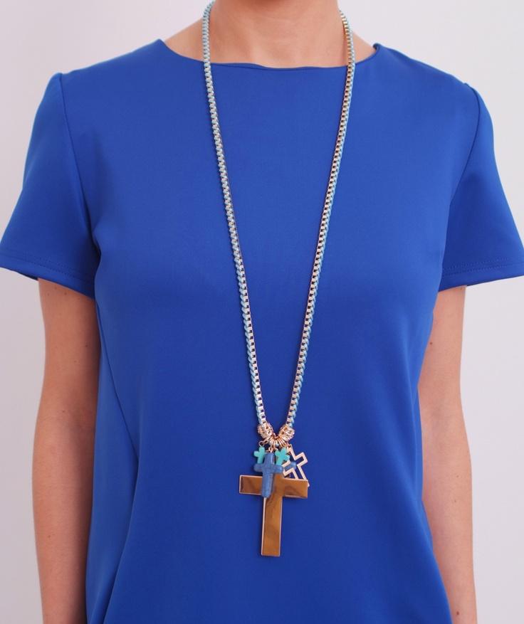 Collar cruces azul  www.belleboheme.es