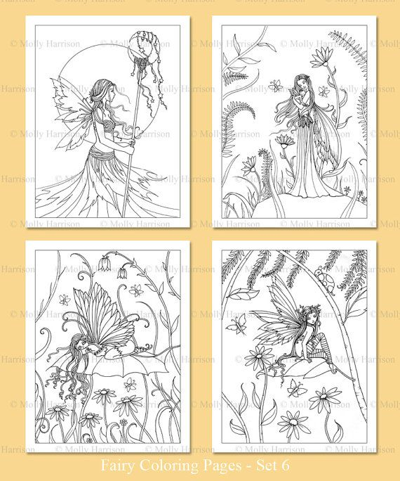 PRINTABLE Fairies Coloring Pages Set 6