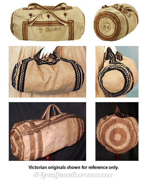 Etsy Transaction - Victorian Travel Bag - Blue Linen / White Trim