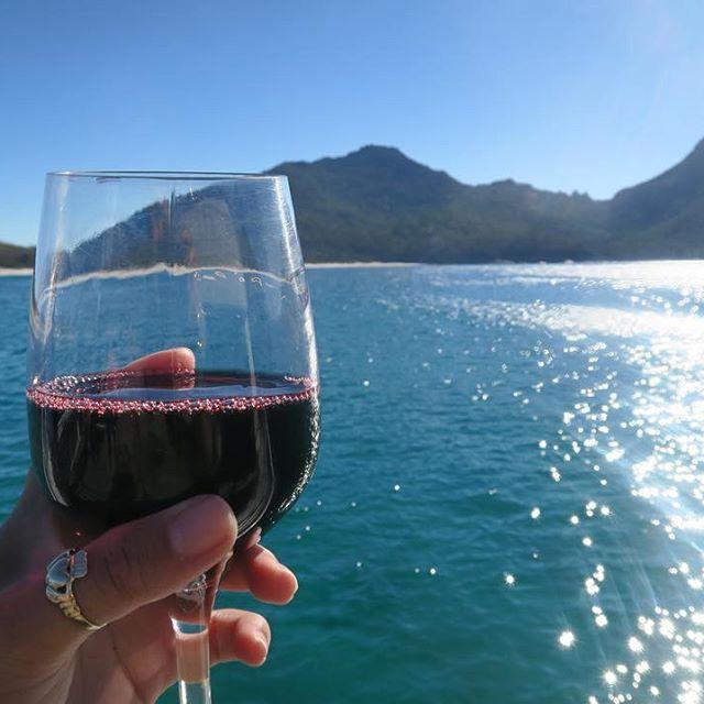 A cup of vino in Wineglass Bay Tasmania Seems appropriate