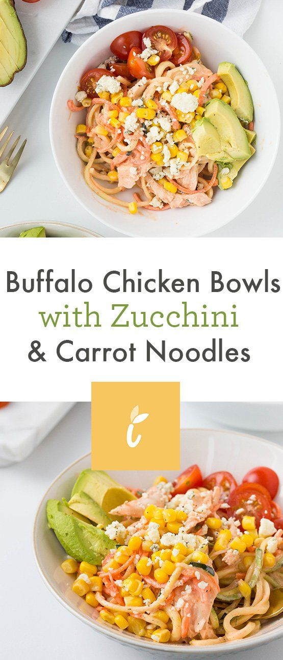 Buffalo Chicken Bowls with Zucchini & Carrot Noodles - Weight Watchers SmartPoints*: 5 points
